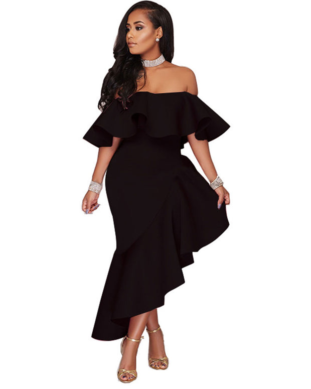Ruffle Trim Off Shoulder Irregular Hem Maxi Dress