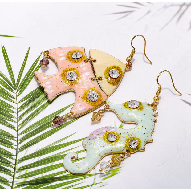 Dancing With The Sea Asymmetric Earrings 1Pair