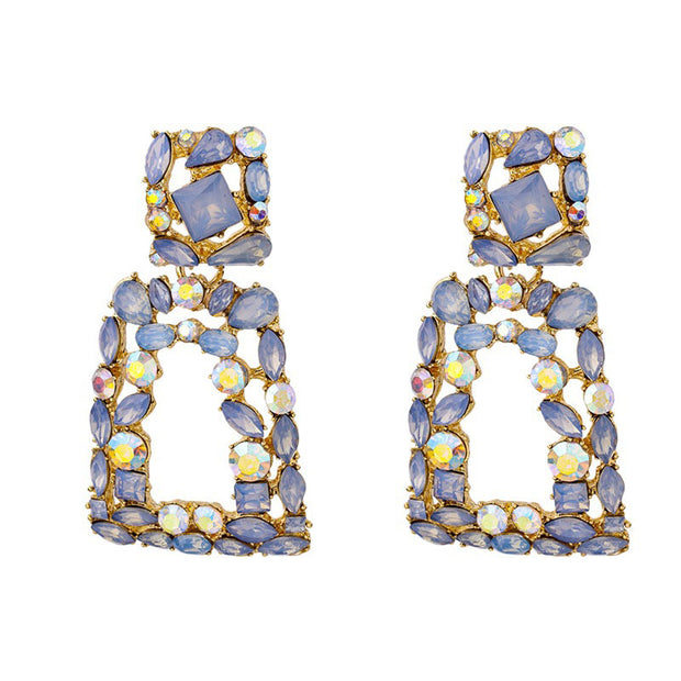 Rhinestone Decor Geometric Drop Earrings 1pair