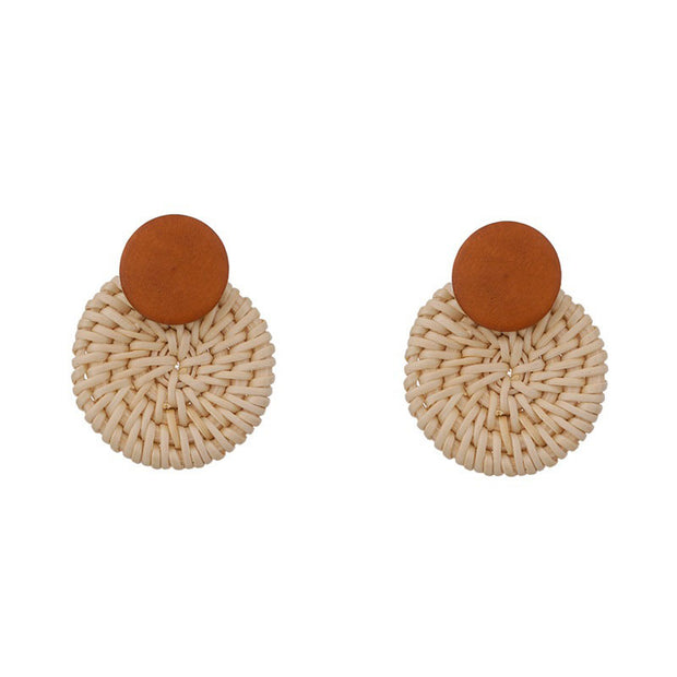 Woven Pendant Round Drop Earrings 1pair