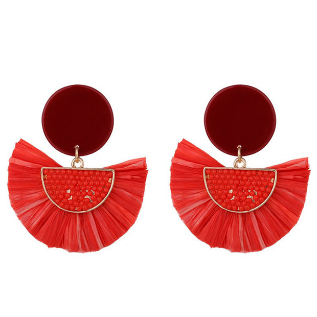 Tassel Fan Shaped Drop Earrings 1 Pair