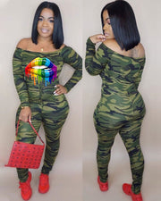 Take The Kiss Camo Jumpsuit