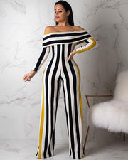 Stripe Print Off Shoulder High Waist Jumpsuit