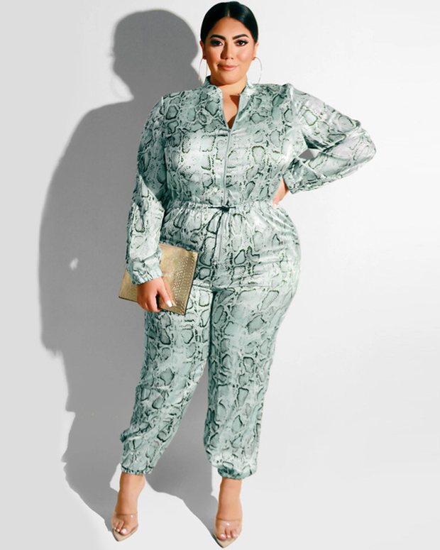 Plus Slithering To You Snakeskin Jumpsuit