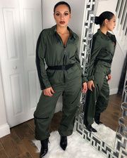Polo Neck Zipper Front Belted Jumpsuit