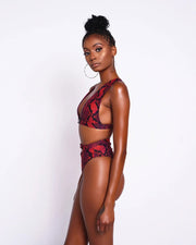 Red Snakeskin High Waist Bikini