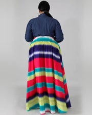 Plus Stripe Print Splicing Maxi Dress