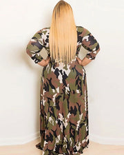 Plus Camouflage Belted Maxi Dress