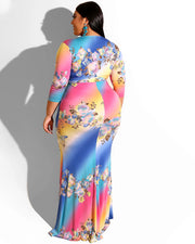 Plus Floral Print High Waist Belted Bodycon Maxi Dress