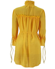 All Yellow Ruffle Trim Chiffon Midi Dress