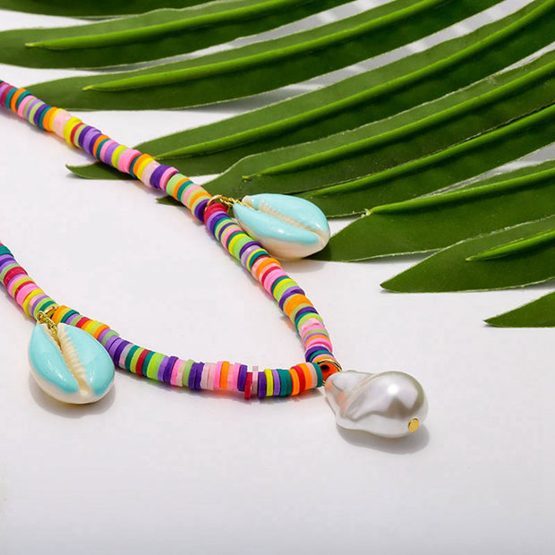 Colorful Cowrie Shell Braided Choker Necklace