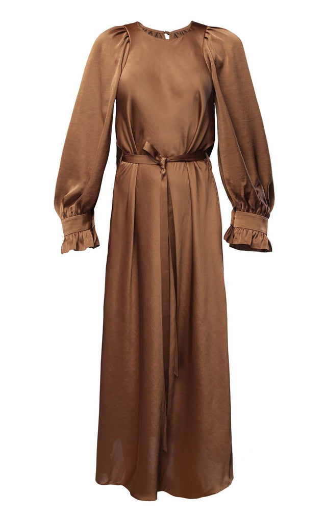 Brown Satin Midi Dress