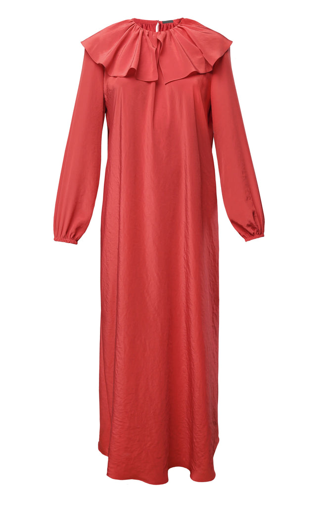 Long Sleeve Satin Midi Dress