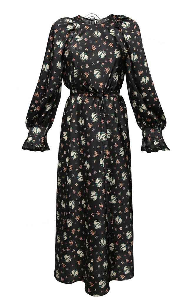 Black Printed Midi Dress With Long Sleeve
