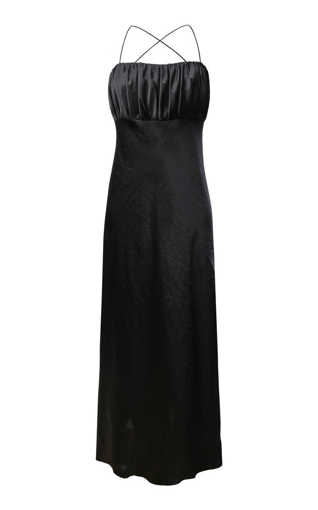 Pleated Bodiced Black Slip Dress