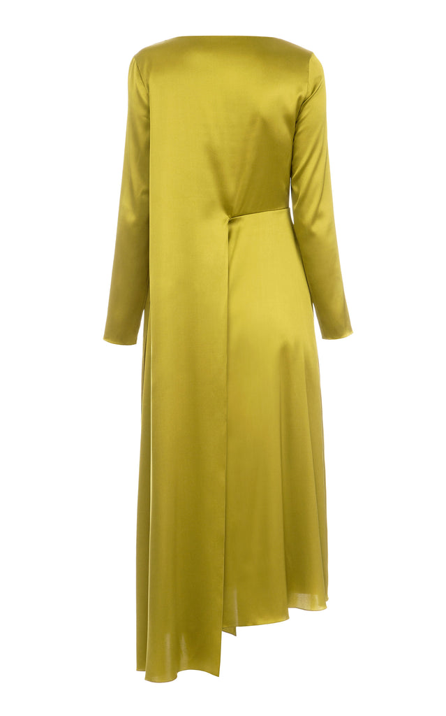 Midi silk gathered dress