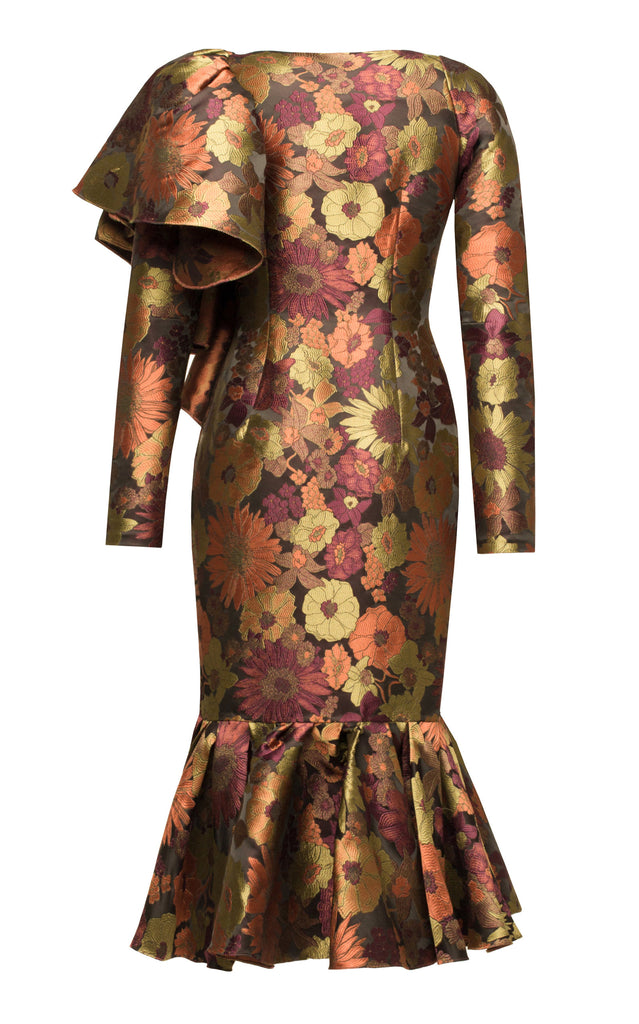 Floral brocade ruffle dress