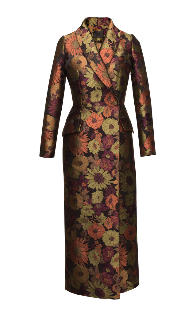 Floral brocade long coat