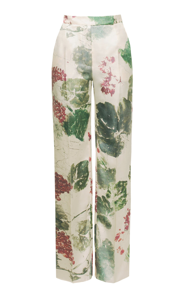 Floral printed silk pants