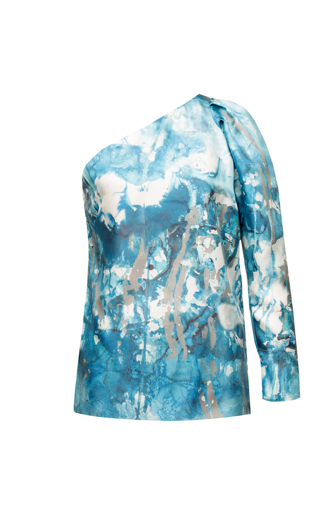 Blue silk printed blouse