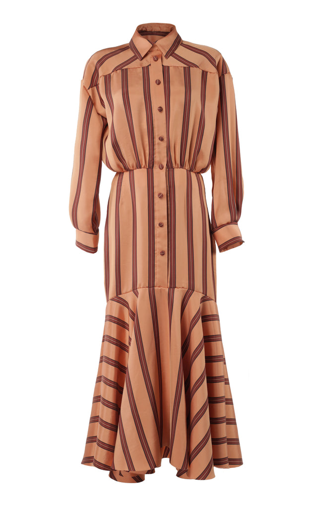 Striped silk-satin midi dress