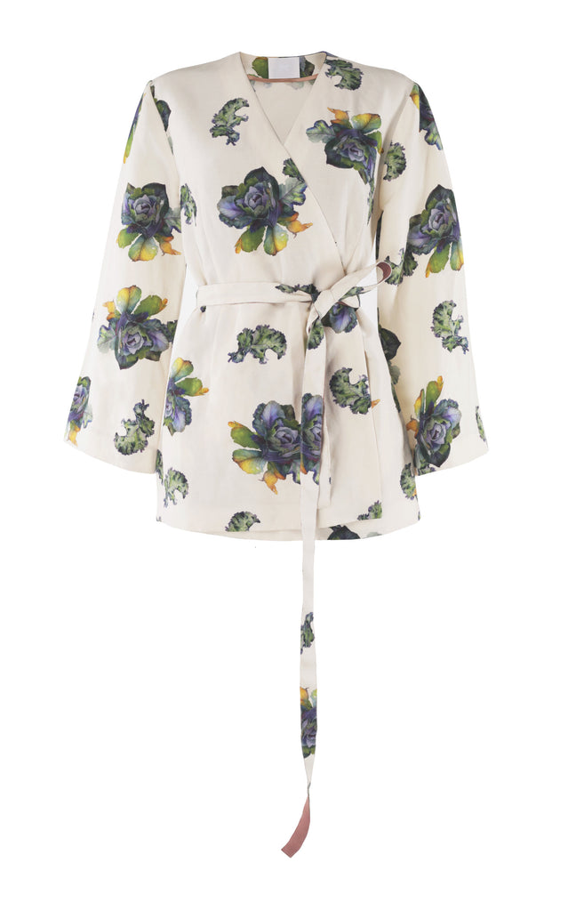 Belted floral-print silk-blend top