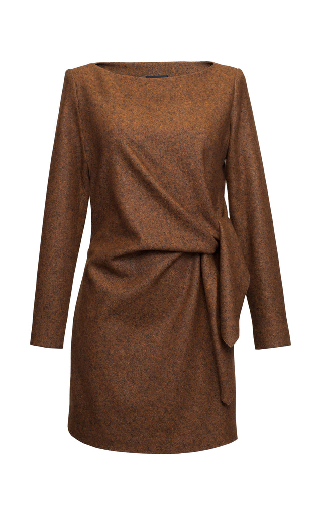 Tie-Detailed Wool And Silk Blend Mini Dress