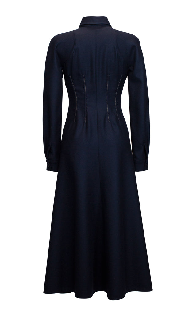 Collared Wool Midi Dress