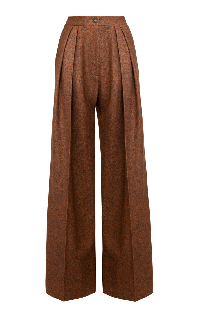 Mid-Rise Pleated Wool And Silk Blend Wide-Leg Pants