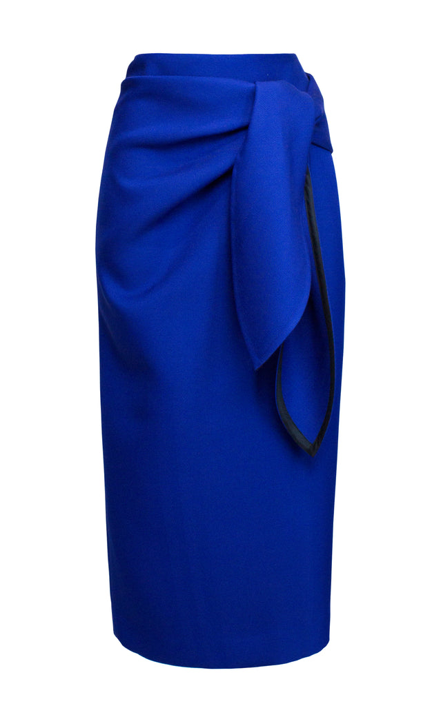 Tie-Front Wrap-Effect Twill Midi Pencil Skirt