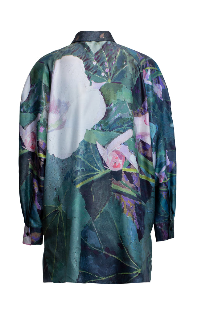 Floral Printed Long Sleeve Satin Blouse
