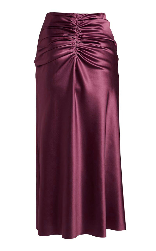 Ruched Silk Satin Midi Skirt