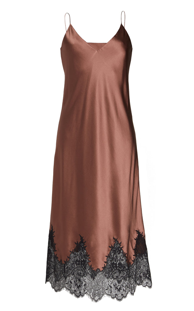 Sleeveless Silk Slip Dress With Lace Trim