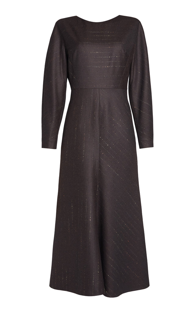 Long Sleeve A-Line Wool Midi Dress