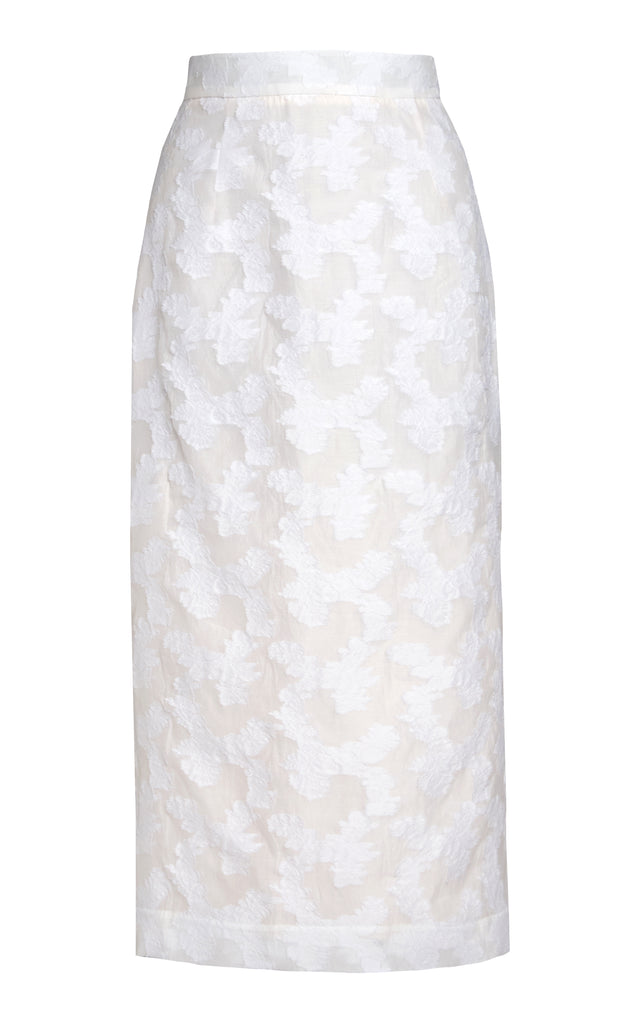 Floral Fil Coupe Pencil Skirt