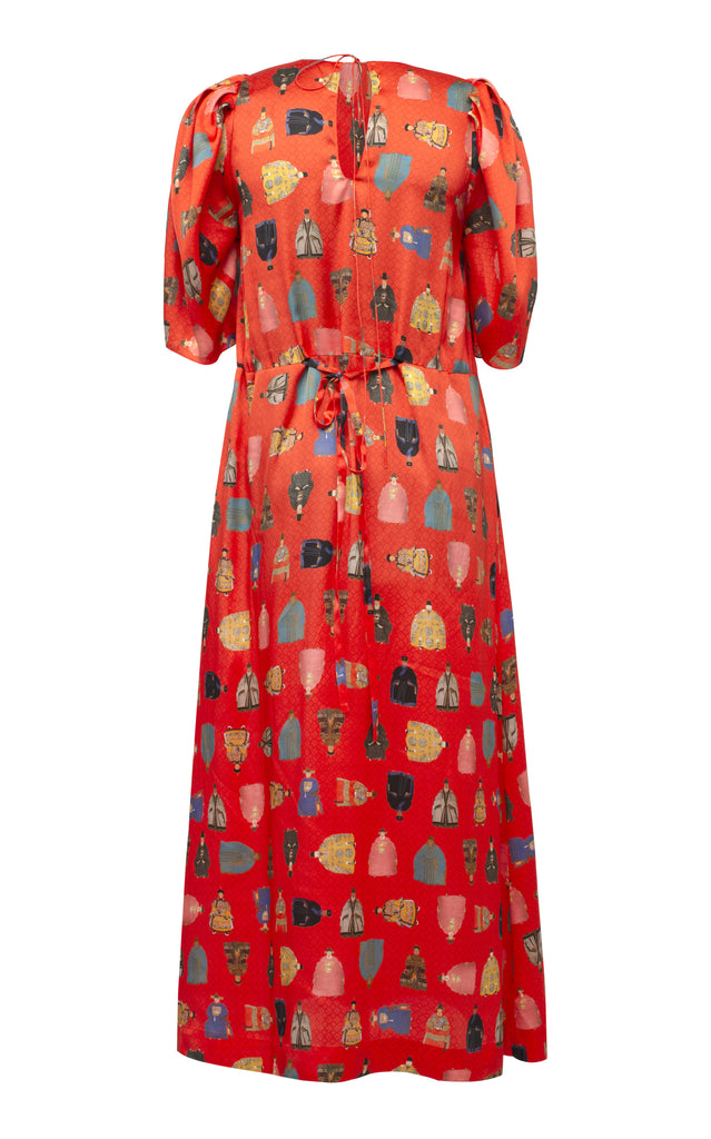Worrier Printed Flared Midi Dress