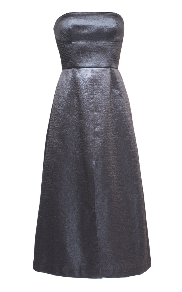 Strapless Metallic Midi Dress