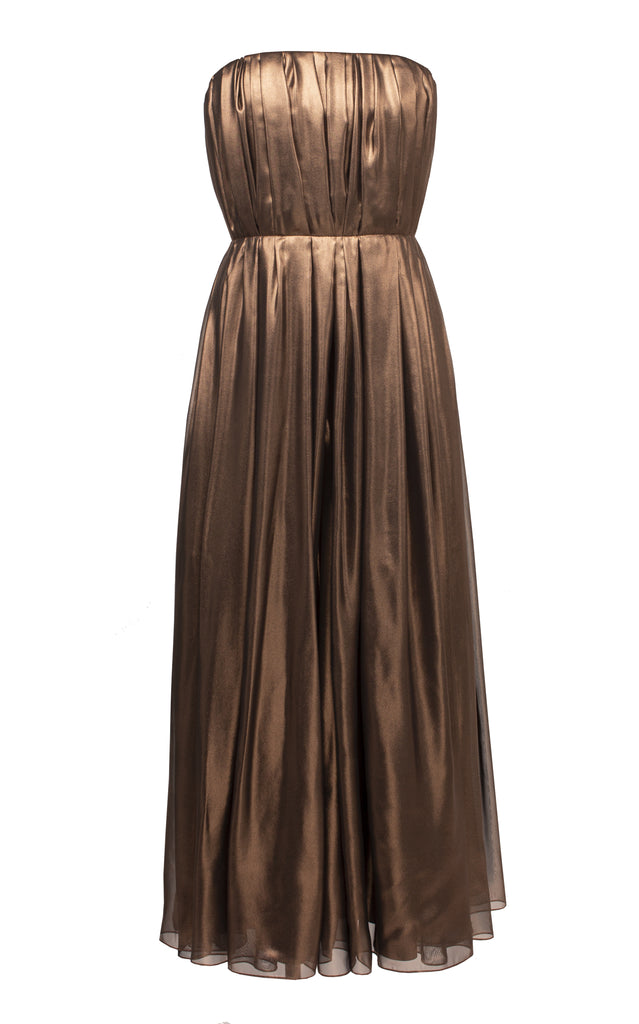 Metallic Pleated Corset Midi Dress