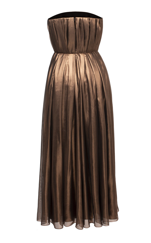 Metallic Pleated Midi Dress