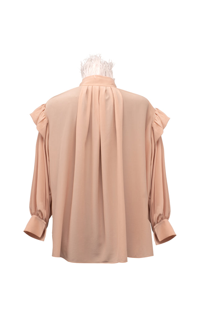 Feathered Collar Silk Top