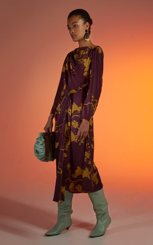 Asymmetric Floral Printed Jersey Midi Dress