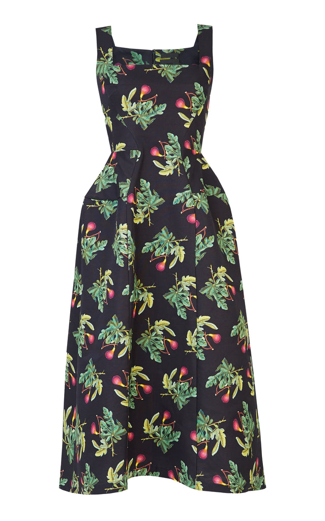 Floral-Print Cotton And Silk-Blend Midi Dress