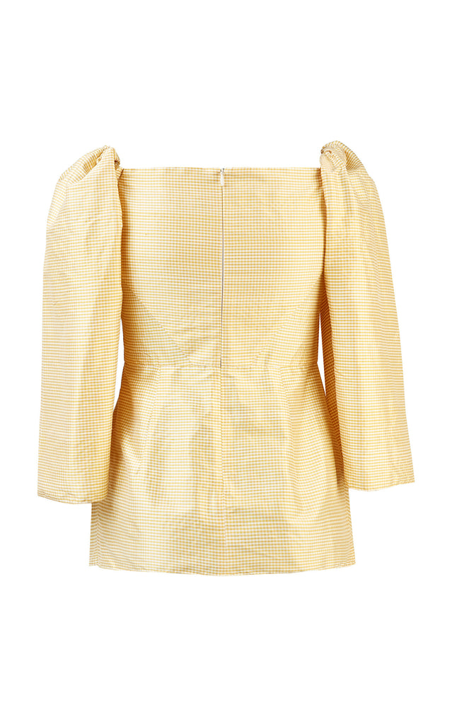 Gingham Silk-Taffeta Top