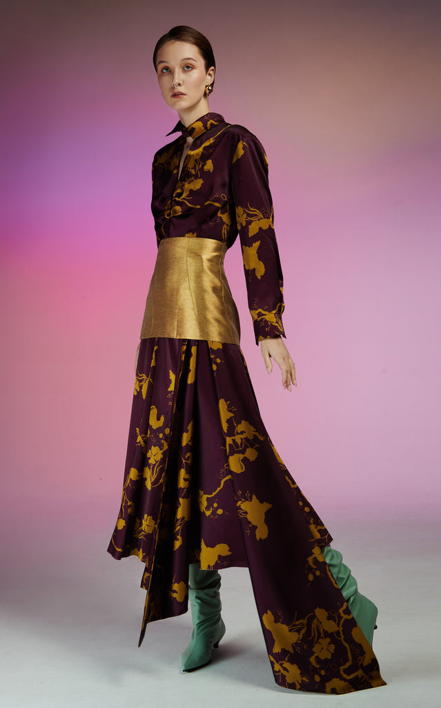 Long Sleeve Satin Aubergine Print Midi Dress