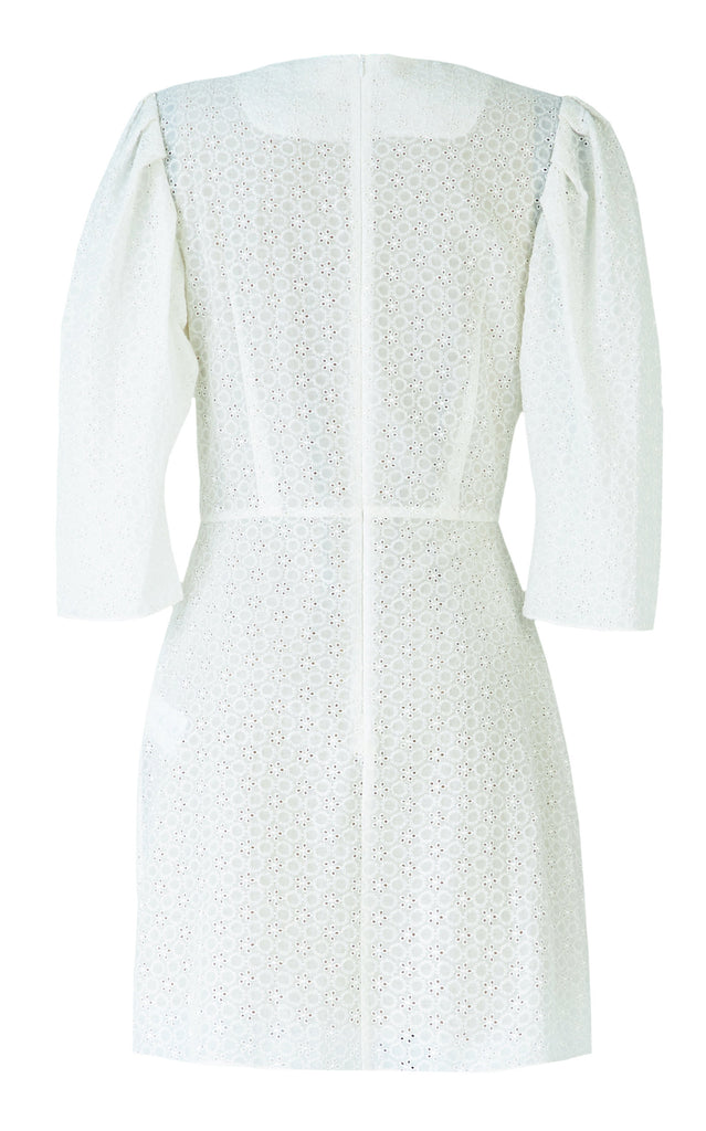 Gathered Cotton Broderie Anglaise Mini Dress