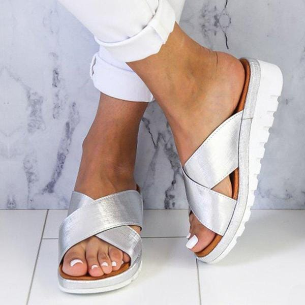 Summer Comfy Plain Peep Toe Casual Slippers - getanne