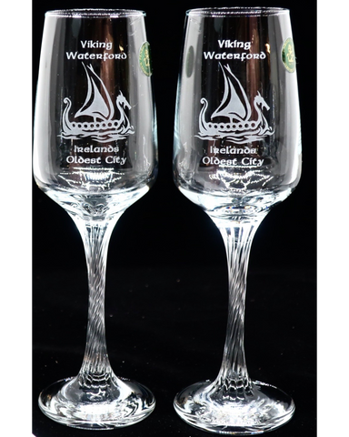 Pair of Prosecco / Champagne Glasses Engraved Viking Waterford
