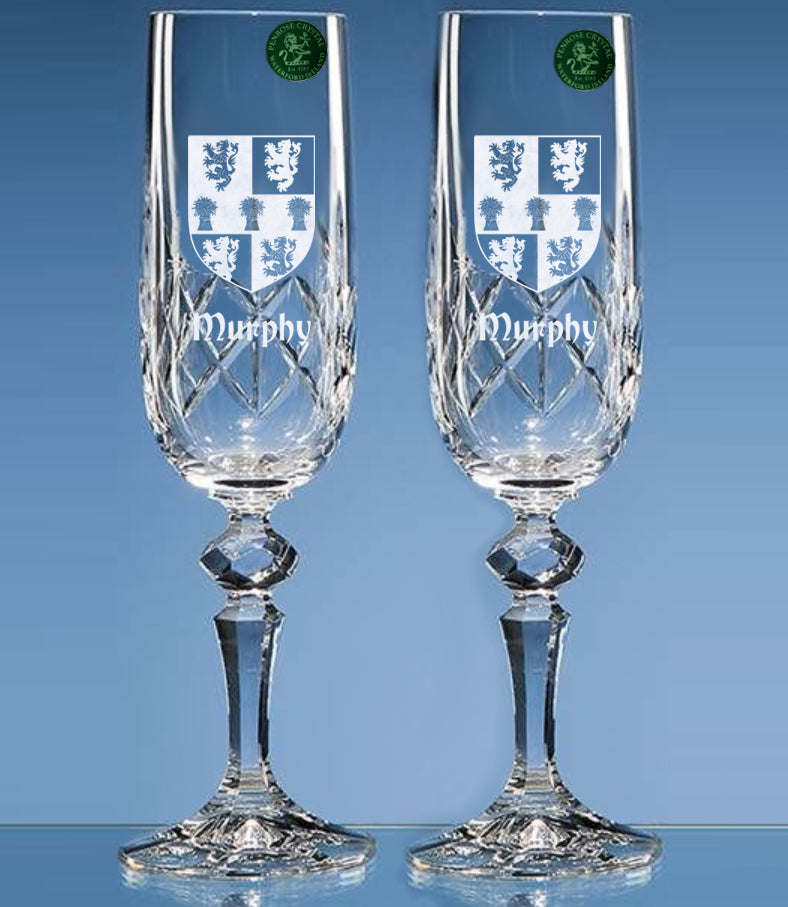 Pair of Crystal Champ Flutes with Family Crest - Penrose Crystal Waterford
