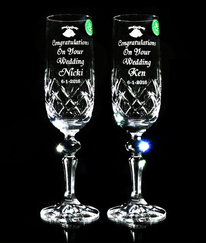 Pair of Wedding Classic Crystal Champagne Flutes - Penrose Crystal Waterford
