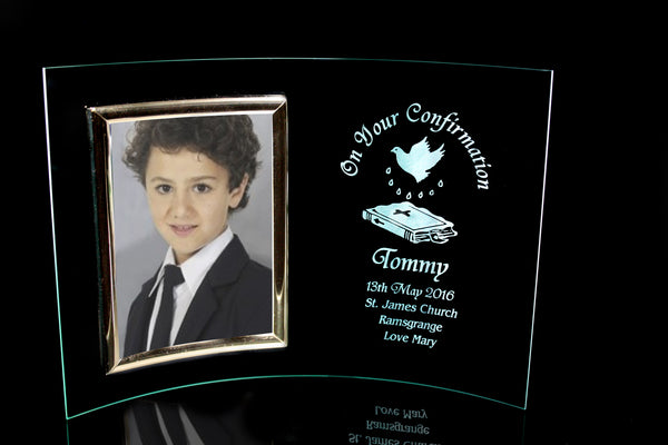 Confirmation Curved Photoframe with Personalised Engraving - Penrose Crystal Waterford